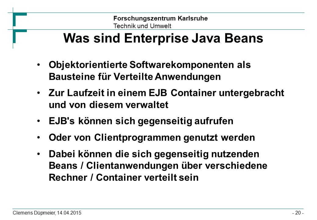 Was sind Enterprise Java Beans