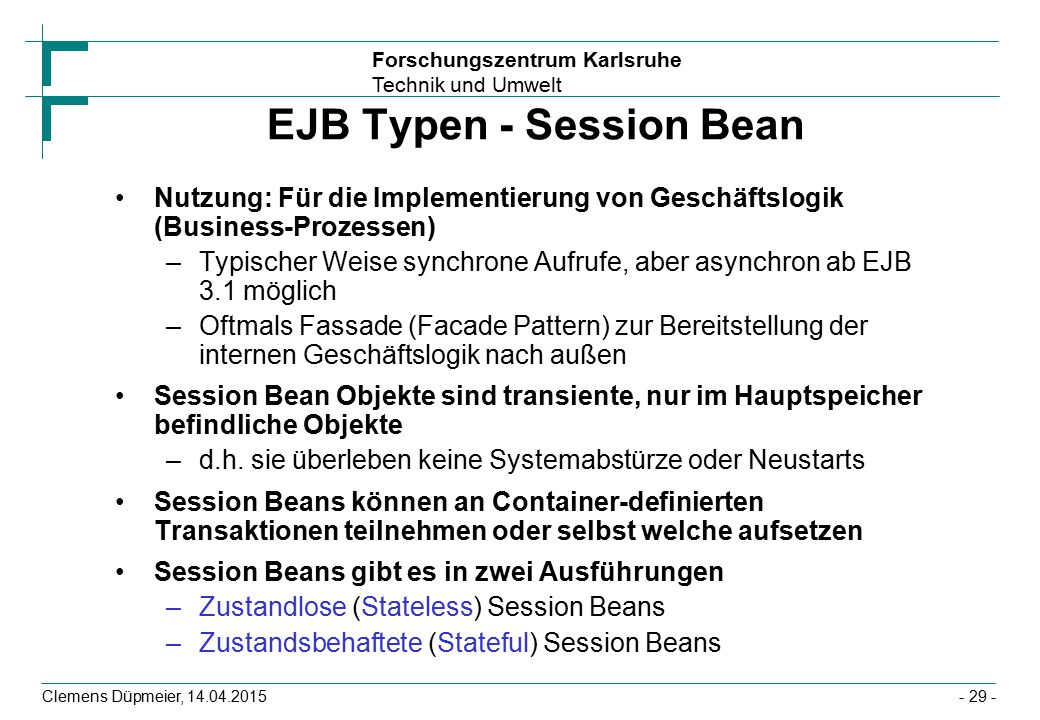 EJB Typen - Session Bean