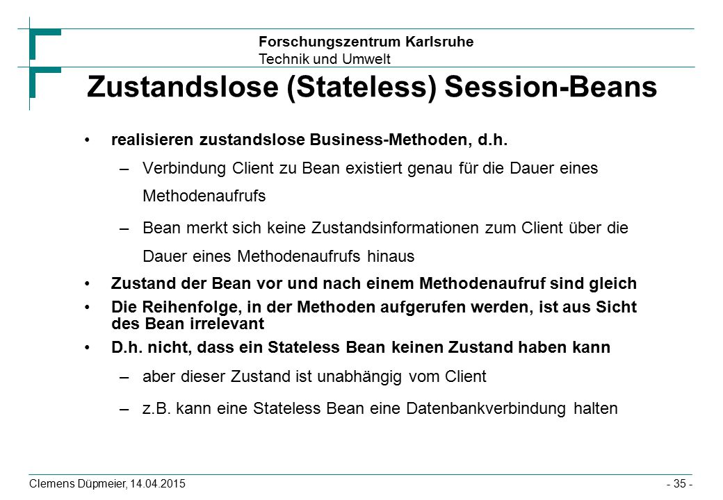 Zustandslose (Stateless) Session-Beans