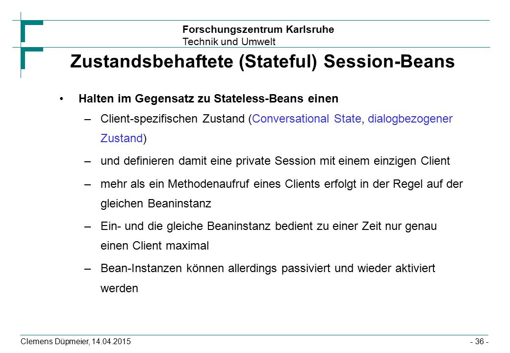 Zustandsbehaftete (Stateful) Session-Beans