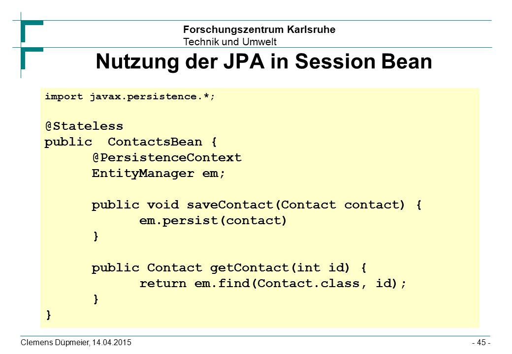 Nutzung der JPA in Session Bean