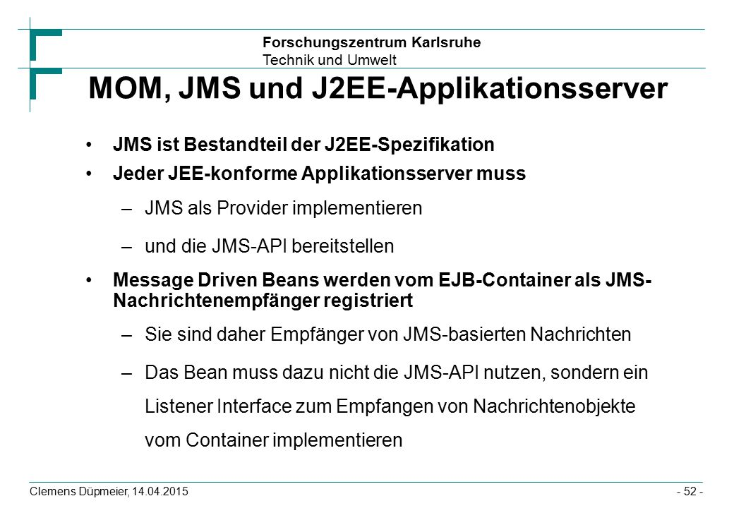 MOM, JMS und J2EE-Applikationsserver