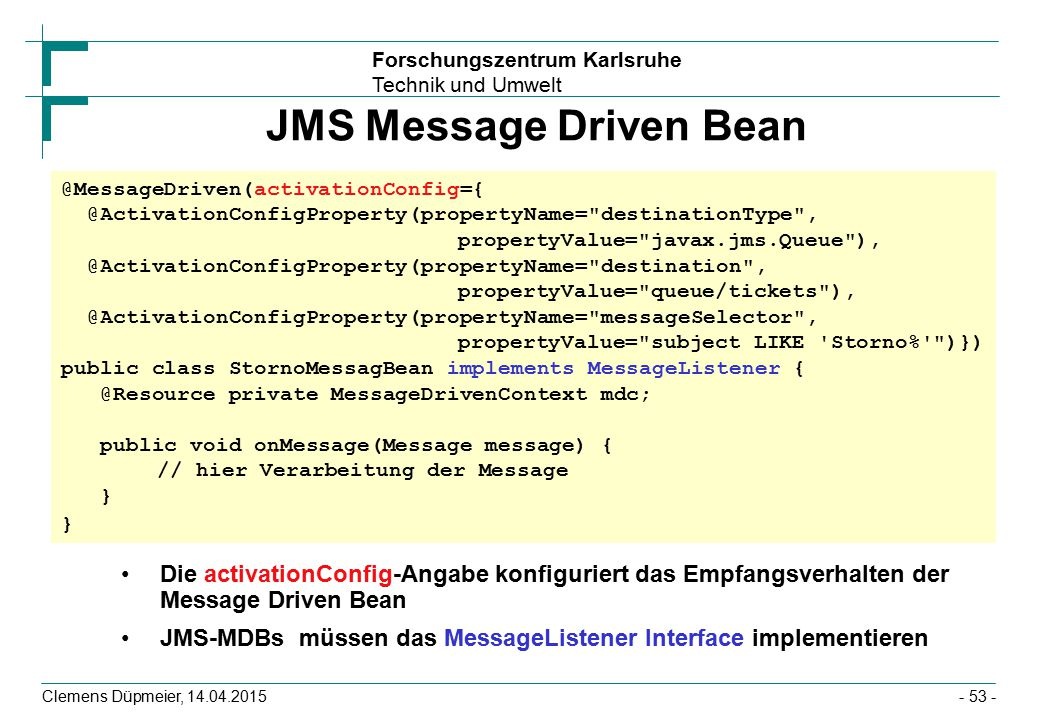 JMS Message Driven Bean