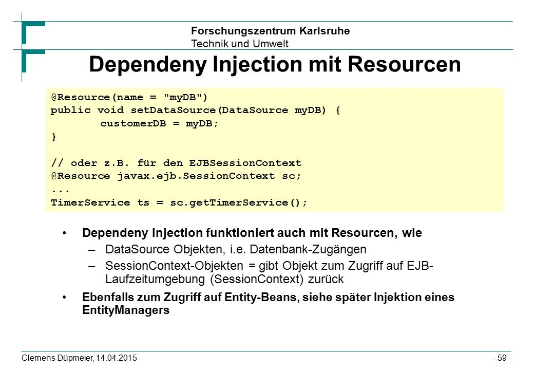 Dependeny Injection mit Resourcen