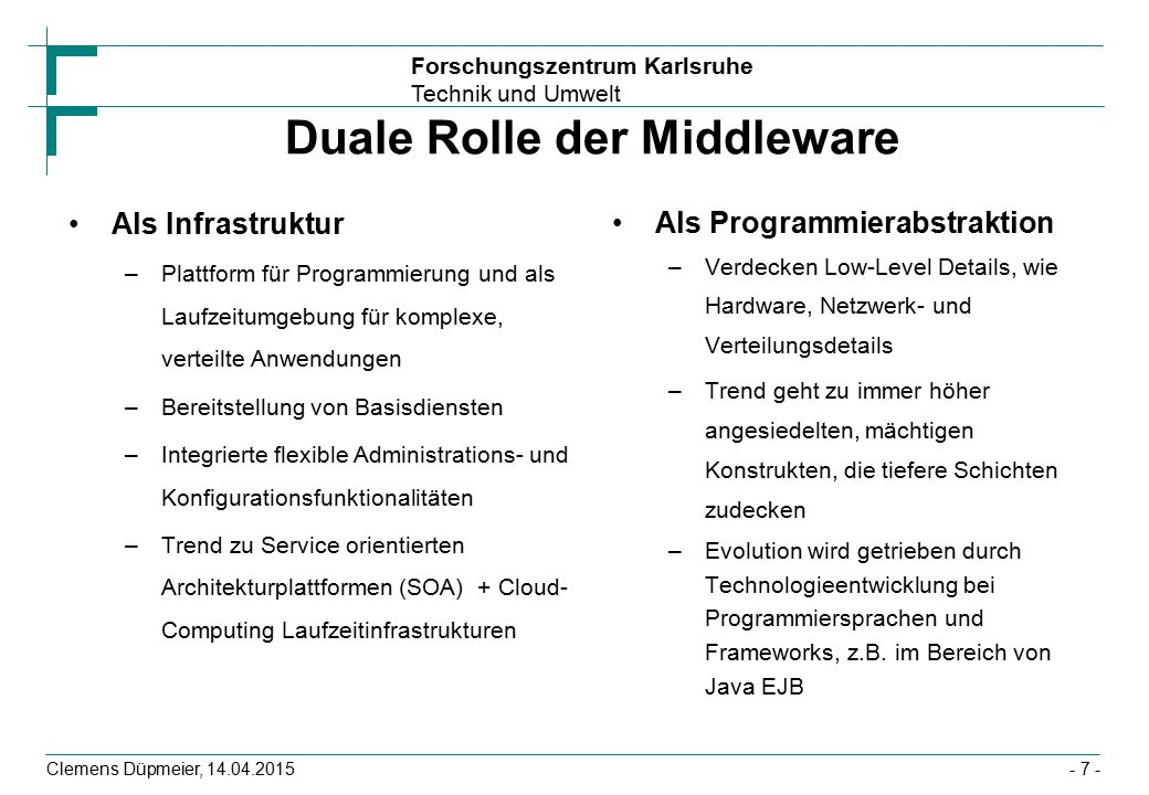Duale Rolle der Middleware