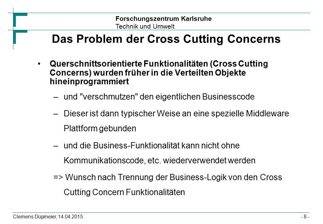 Das Problem der Cross Cutting Concerns