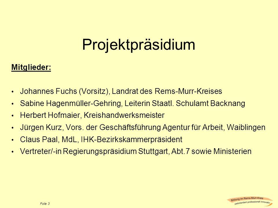 Projektpräsidium Mitglieder: