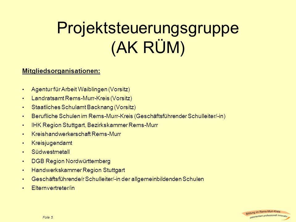Projektsteuerungsgruppe (AK RÜM)