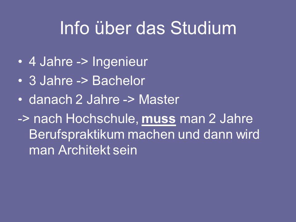 Info über das Studium 4 Jahre -> Ingenieur 3 Jahre -> Bachelor