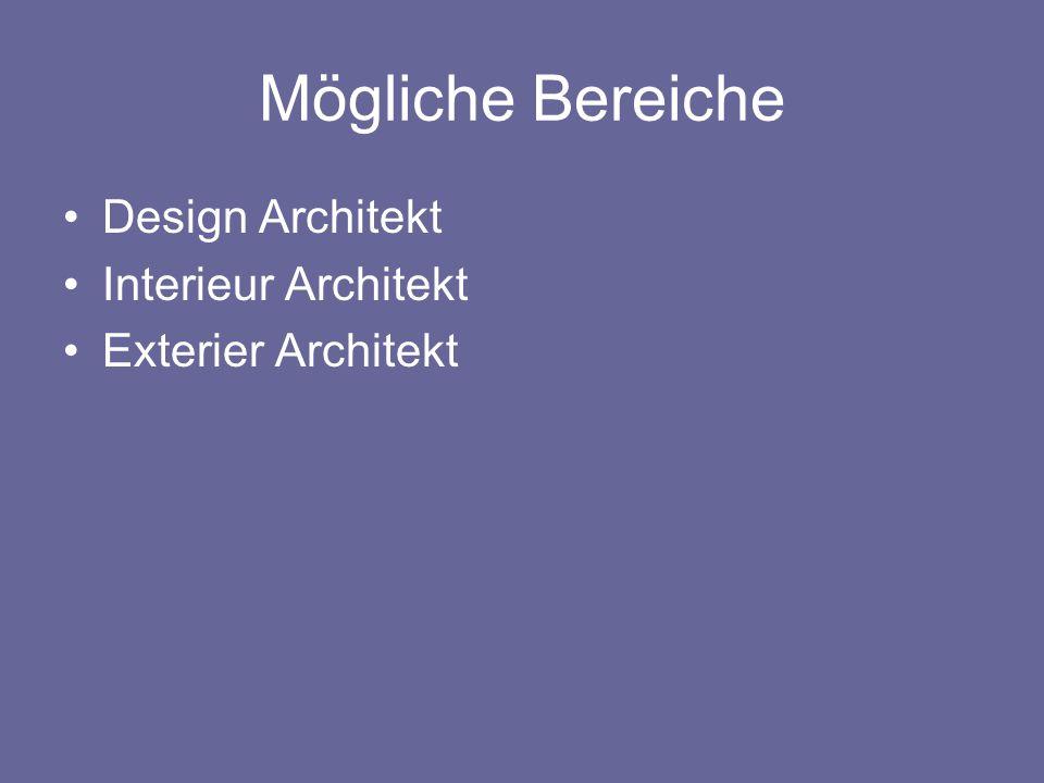 Mögliche Bereiche Design Architekt Interieur Architekt