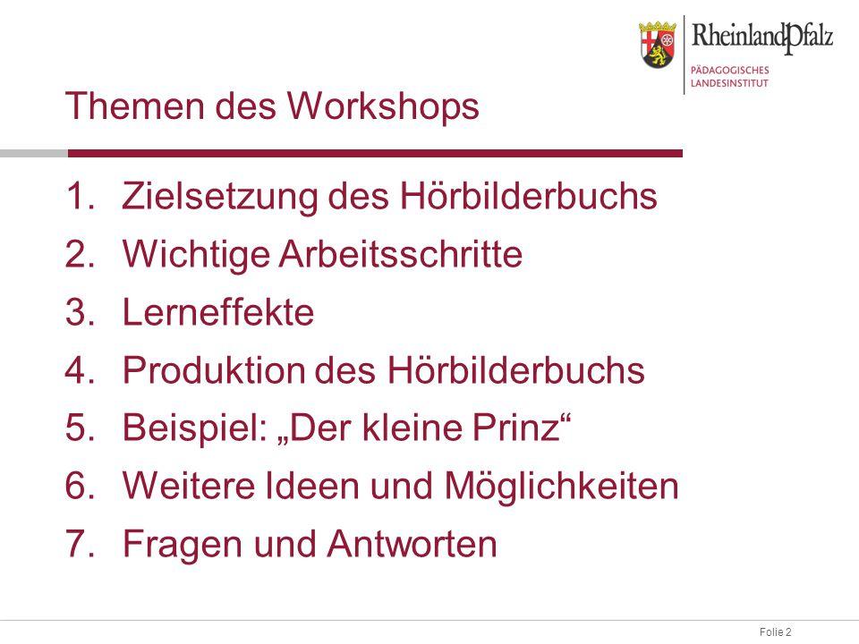 Themen des Workshops Zielsetzung des Hörbilderbuchs. Wichtige Arbeitsschritte. Lerneffekte. Produktion des Hörbilderbuchs.