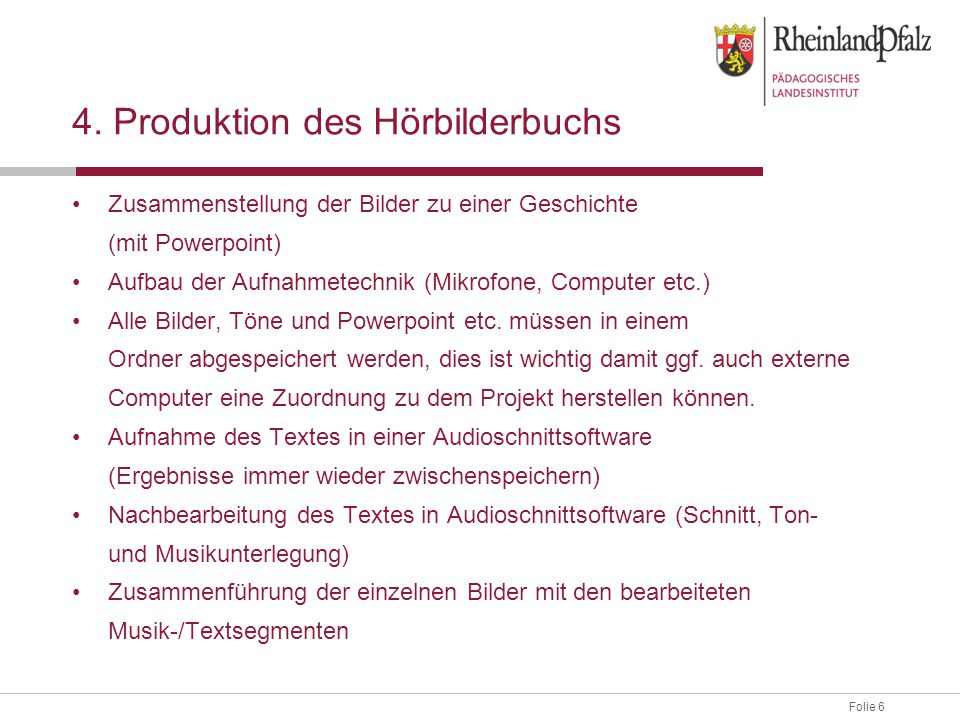 4. Produktion des Hörbilderbuchs