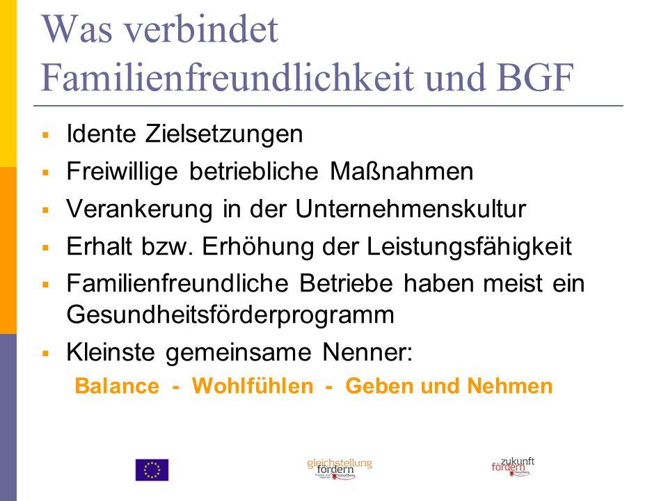 Was verbindet Familienfreundlichkeit und BGF