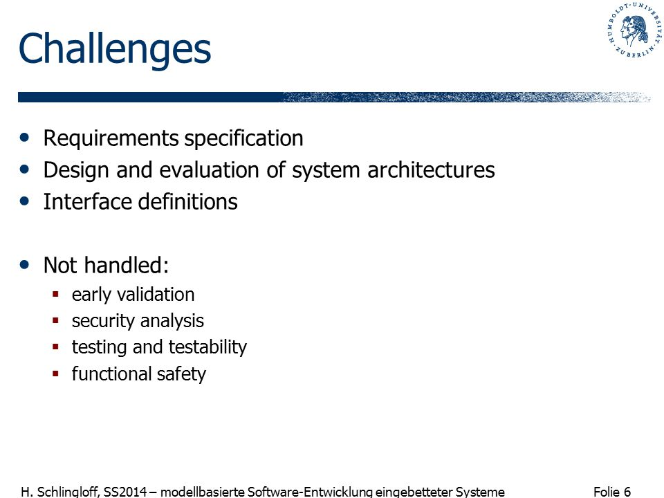 Challenges Requirements specification