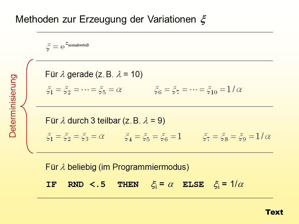 Methoden zur Erzeugung der Variationen x