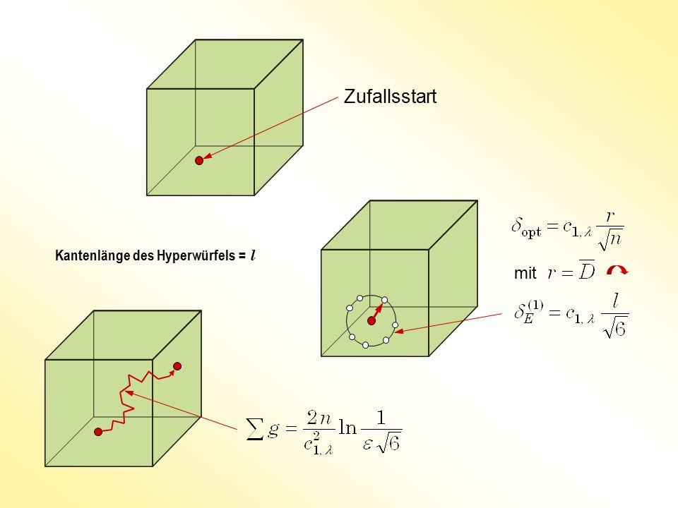 Zufallsstart Kantenlänge des Hyperwürfels = l mit