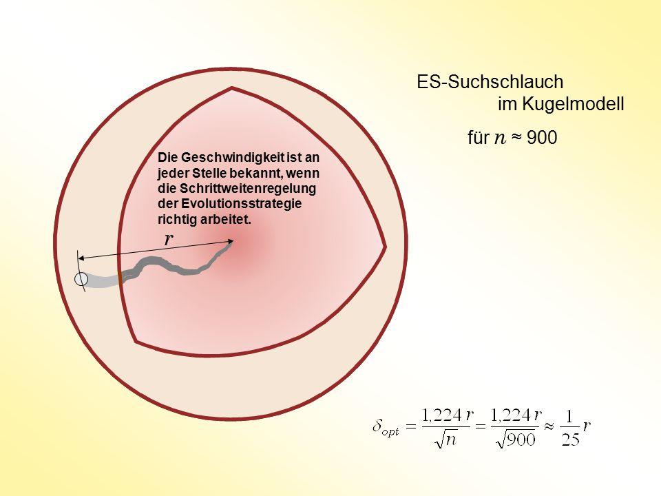 r ES-Suchschlauch im Kugelmodell für n ≈ 900