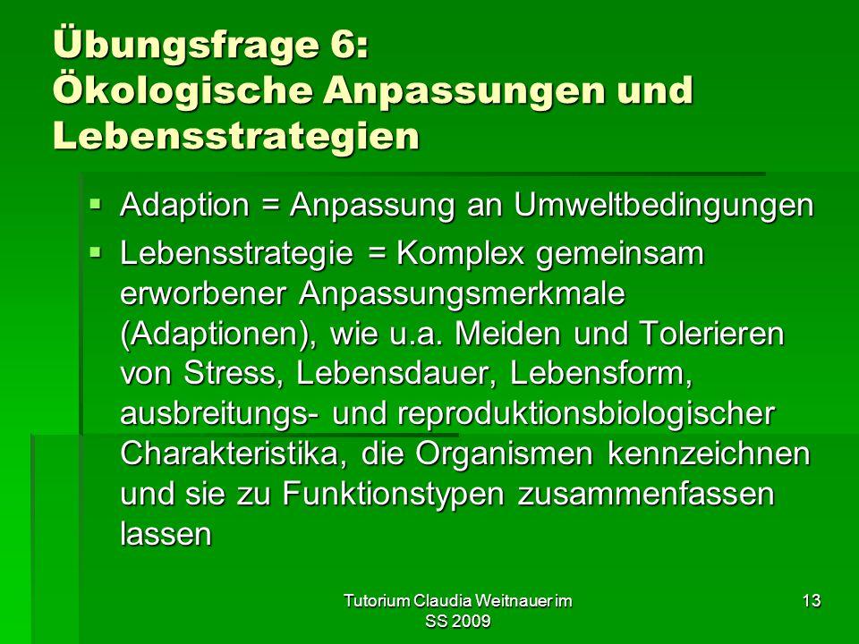 Übungsfrage 6: Ökologische Anpassungen und Lebensstrategien