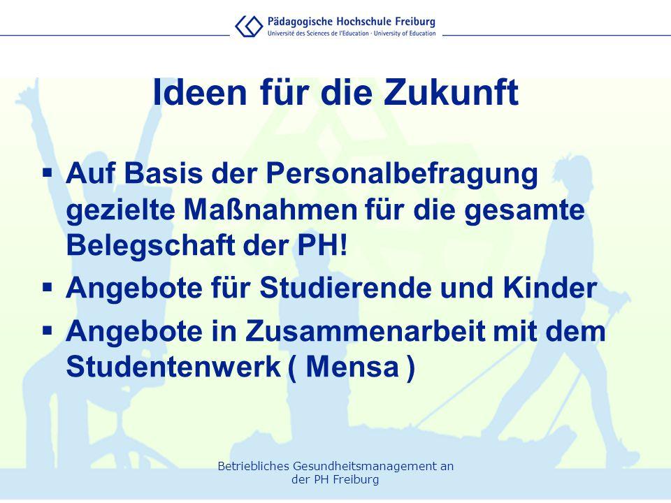 Ideen für die Zukunft Auf Basis der Personalbefragung gezielte Maßnahmen für die gesamte Belegschaft der PH!