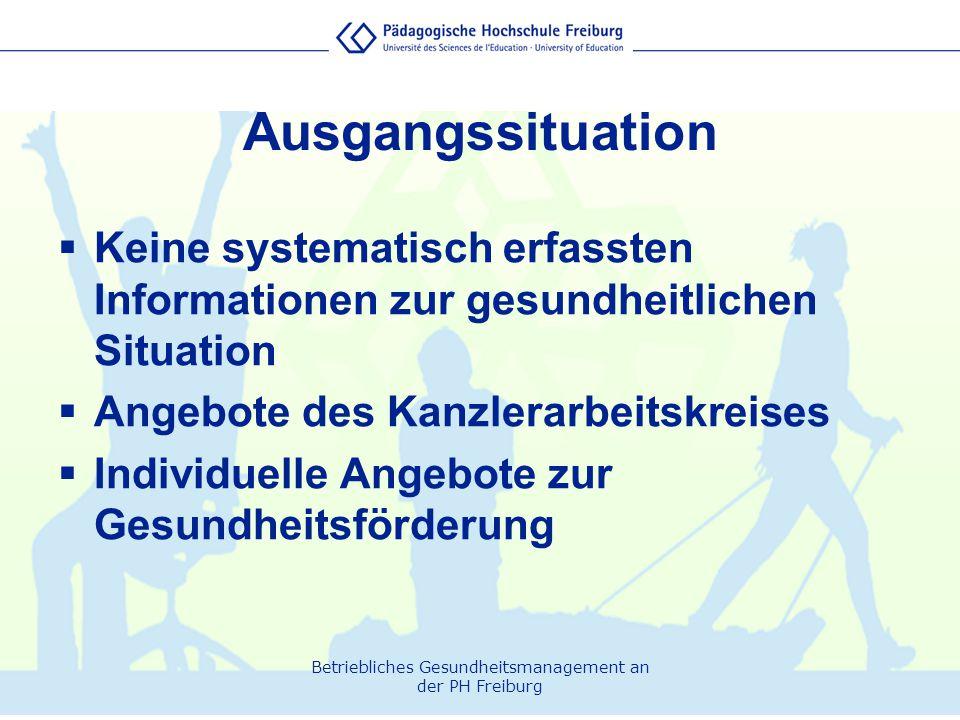 Ausgangssituation Keine systematisch erfassten Informationen zur gesundheitlichen Situation. Angebote des Kanzlerarbeitskreises.