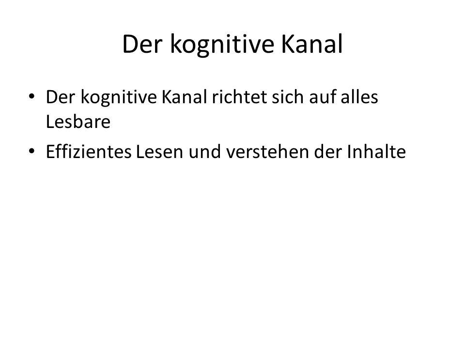 Der kognitive Kanal Der kognitive Kanal richtet sich auf alles Lesbare