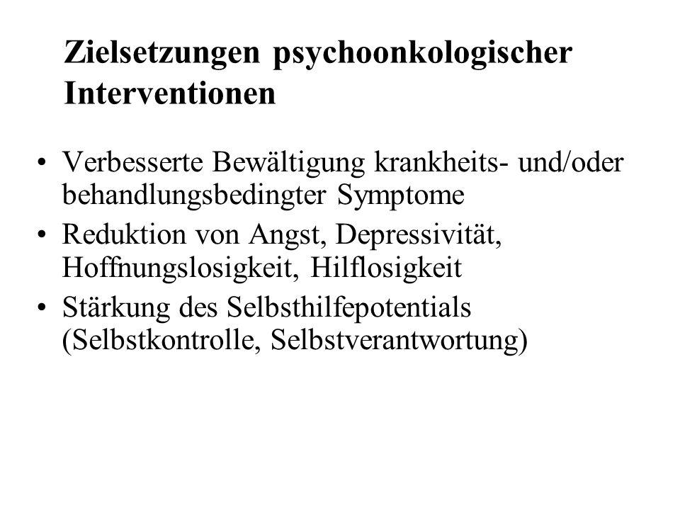 Zielsetzungen psychoonkologischer Interventionen