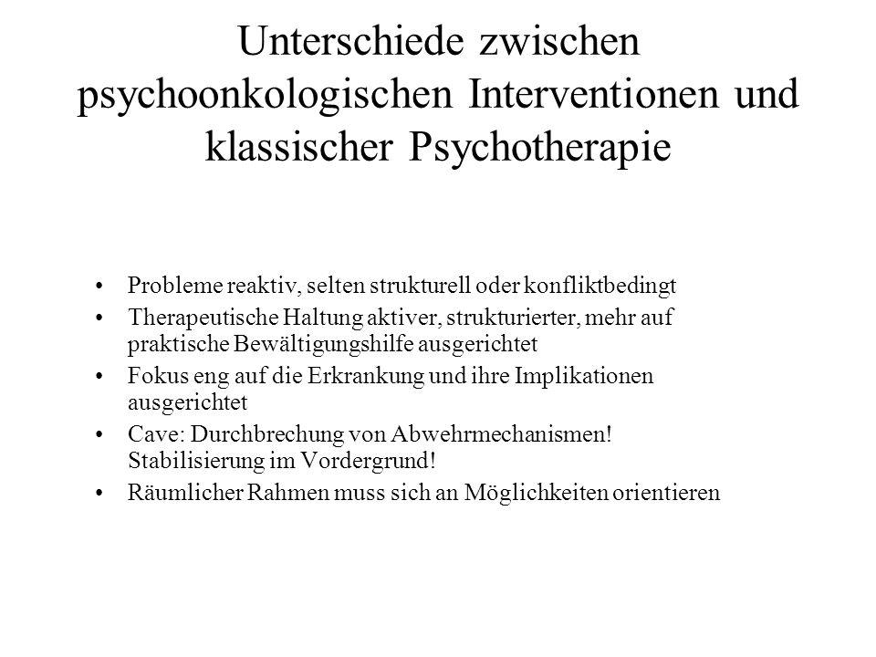 Unterschiede zwischen psychoonkologischen Interventionen und klassischer Psychotherapie