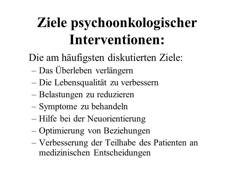 Ziele psychoonkologischer Interventionen: