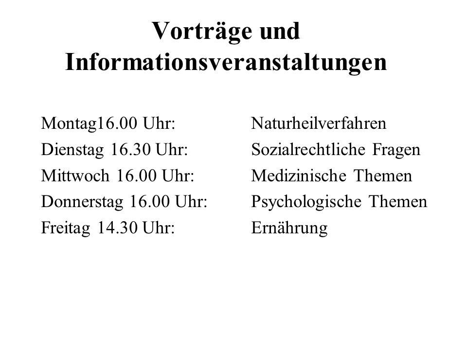 Vorträge und Informationsveranstaltungen