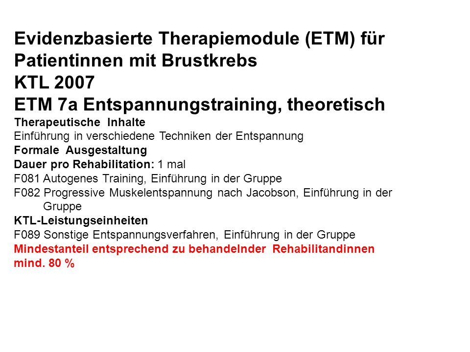 Evidenzbasierte Therapiemodule (ETM) für Patientinnen mit Brustkrebs