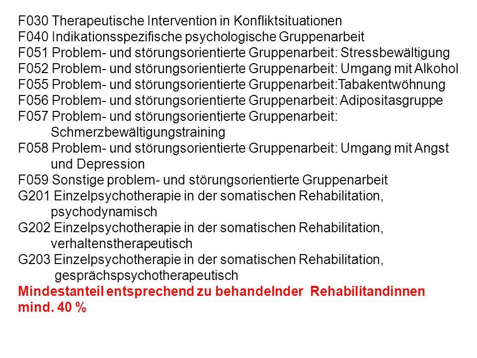 F030 Therapeutische Intervention in Konfliktsituationen