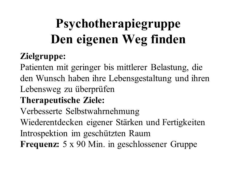 Psychotherapiegruppe Den eigenen Weg finden