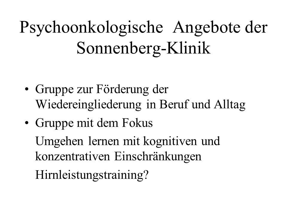 Psychoonkologische Angebote der Sonnenberg-Klinik