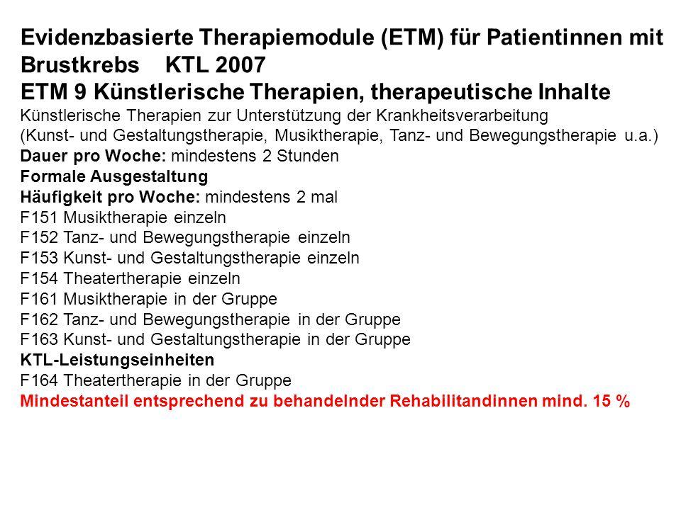 ETM 9 Künstlerische Therapien, therapeutische Inhalte