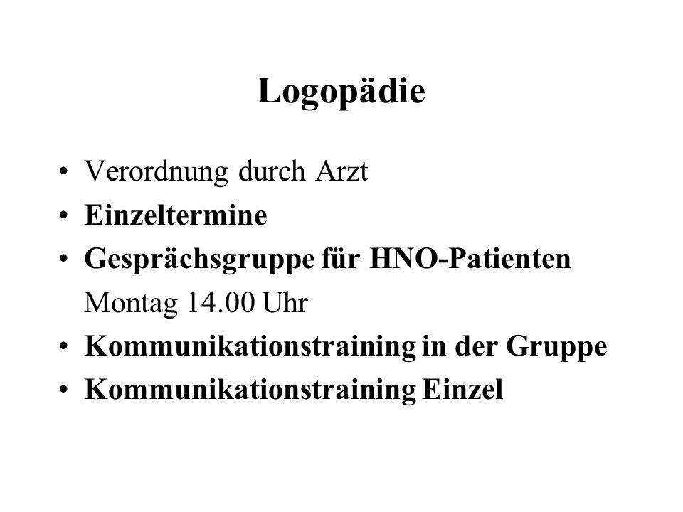 Logopädie Verordnung durch Arzt Einzeltermine