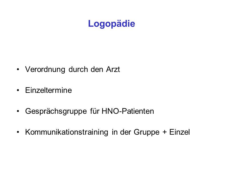 Logopädie Verordnung durch den Arzt Einzeltermine