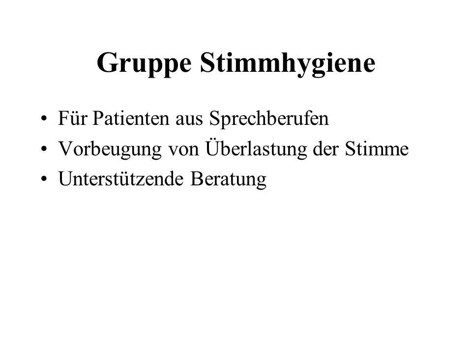 Gruppe Stimmhygiene Für Patienten aus Sprechberufen