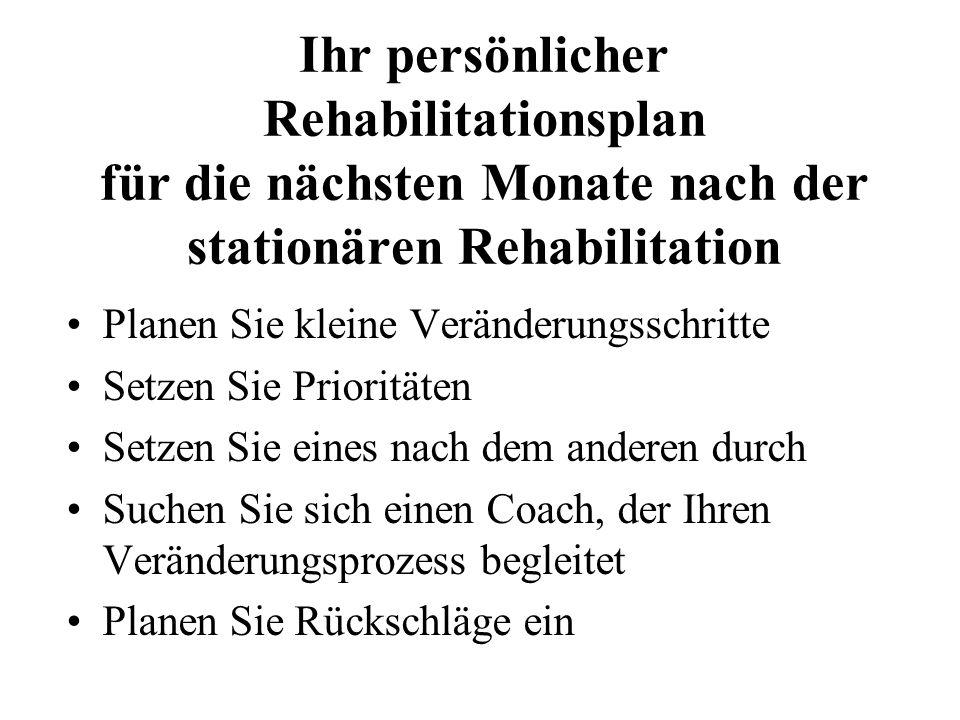 Ihr persönlicher Rehabilitationsplan für die nächsten Monate nach der stationären Rehabilitation
