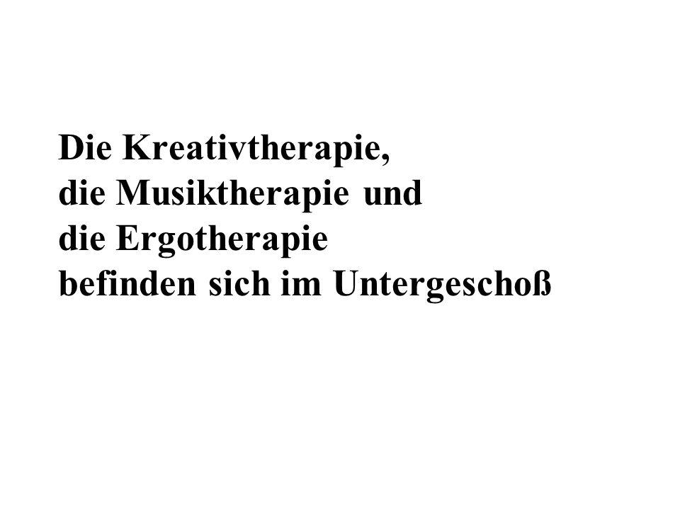 Die Kreativtherapie, die Musiktherapie und die Ergotherapie befinden sich im Untergeschoß