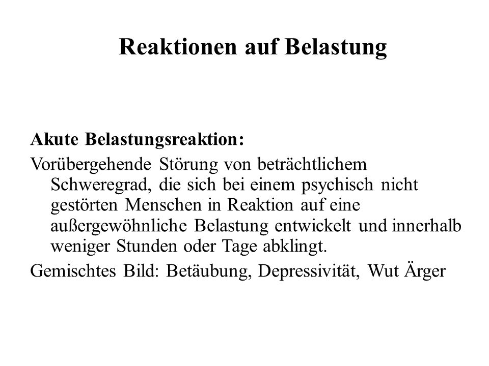 Reaktionen auf Belastung