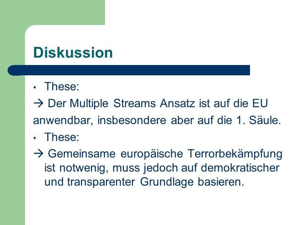 Diskussion These:  Der Multiple Streams Ansatz ist auf die EU
