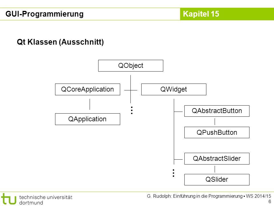 … … GUI-Programmierung Qt Klassen (Ausschnitt) QObject
