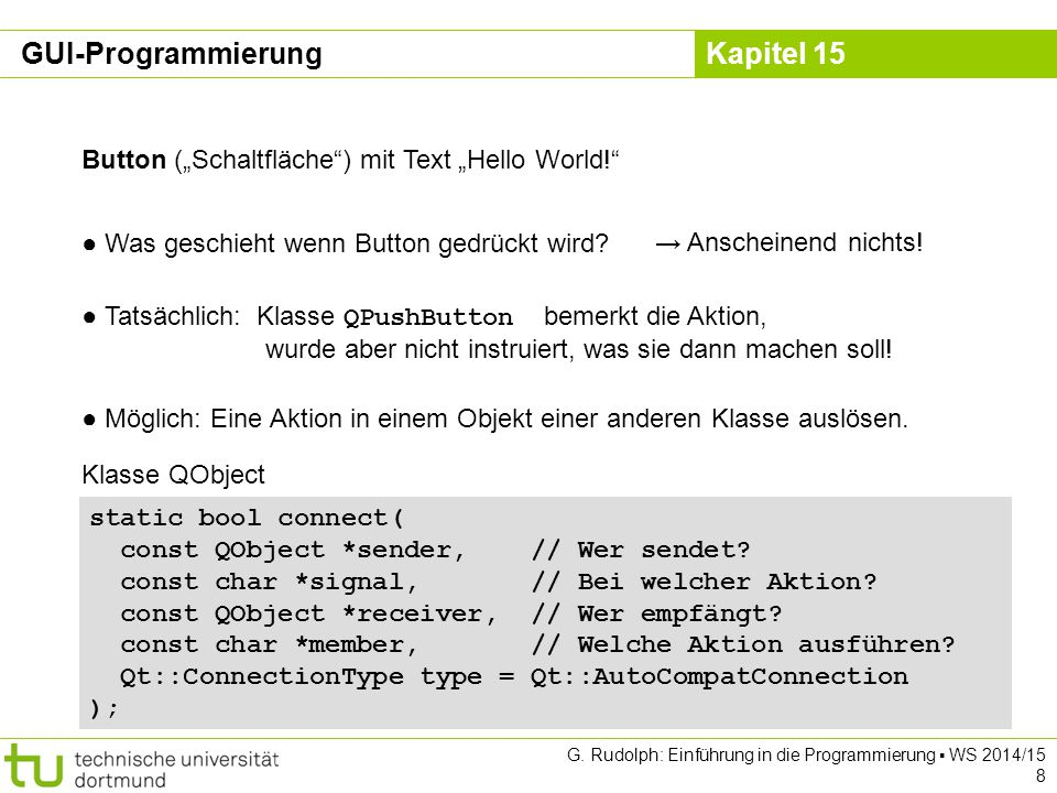 """GUI-Programmierung Button (""""Schaltfläche ) mit Text """"Hello World!"""