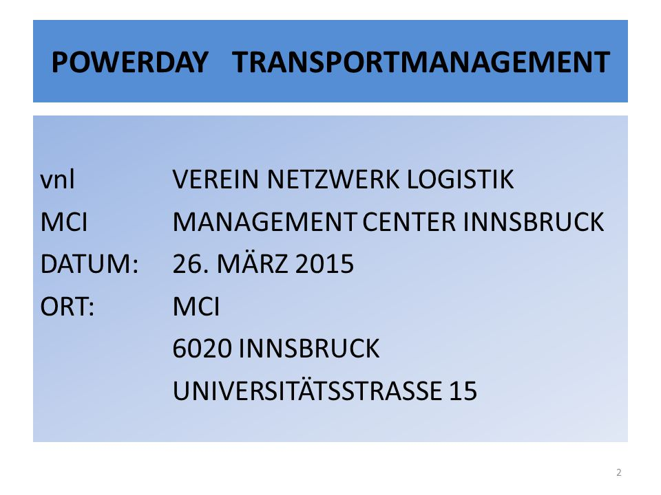 POWERDAY TRANSPORTMANAGEMENT