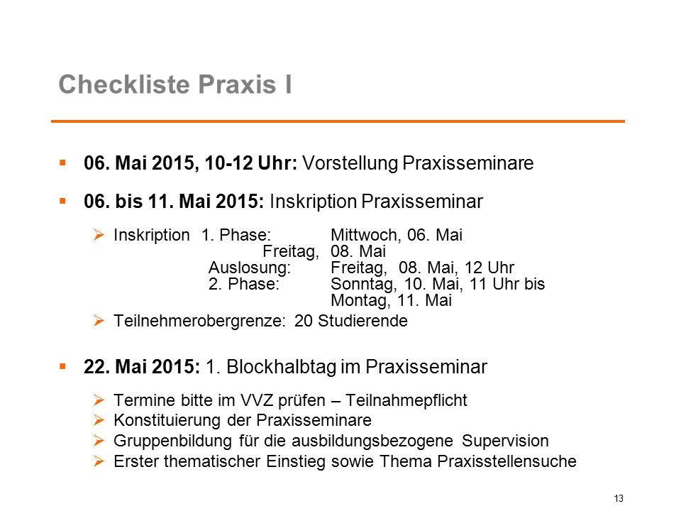 Checkliste Praxis I 06. Mai 2015, 10-12 Uhr: Vorstellung Praxisseminare. 06. bis 11. Mai 2015: Inskription Praxisseminar.