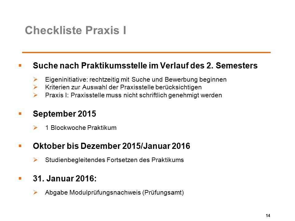 Checkliste Praxis I Suche nach Praktikumsstelle im Verlauf des 2. Semesters. Eigeninitiative: rechtzeitig mit Suche und Bewerbung beginnen.