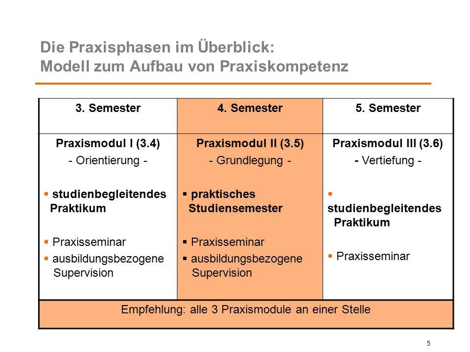 Die Praxisphasen im Überblick: Modell zum Aufbau von Praxiskompetenz