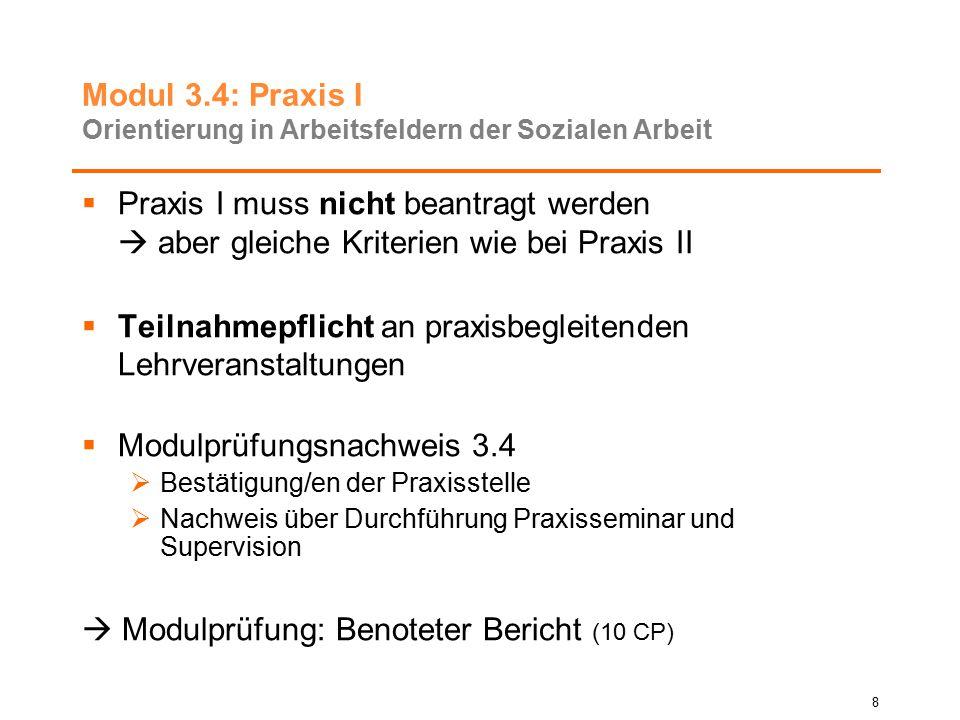 Modul 3.4: Praxis I Orientierung in Arbeitsfeldern der Sozialen Arbeit