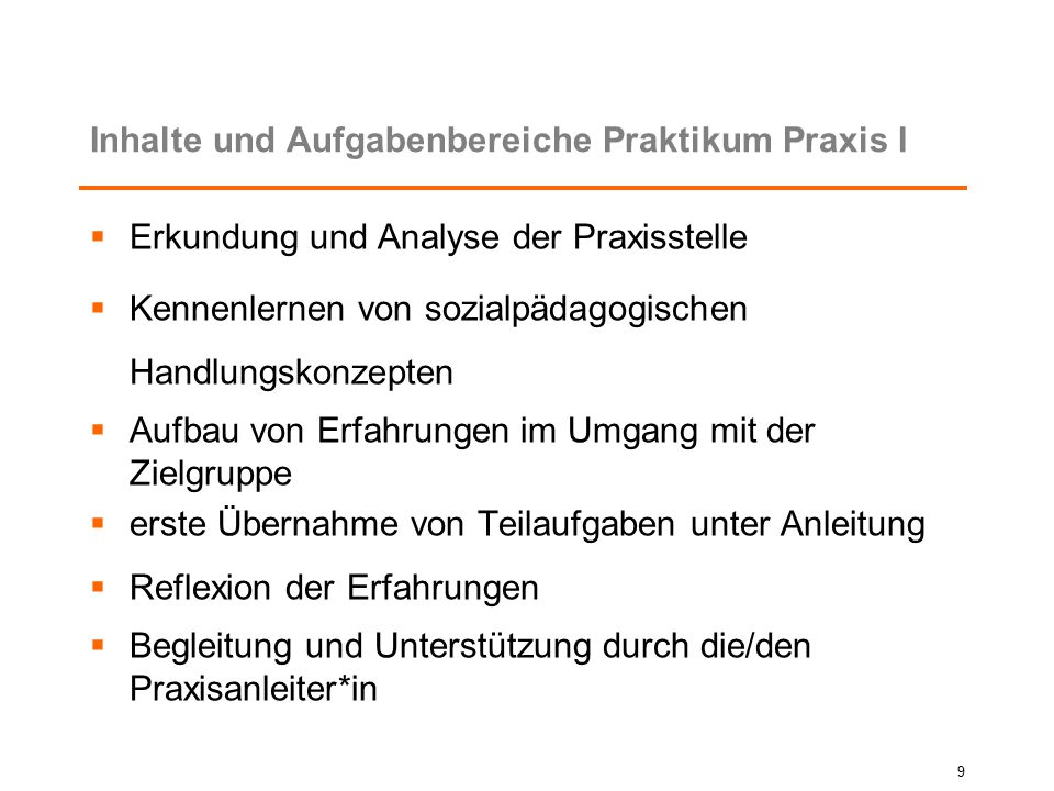 Inhalte und Aufgabenbereiche Praktikum Praxis I
