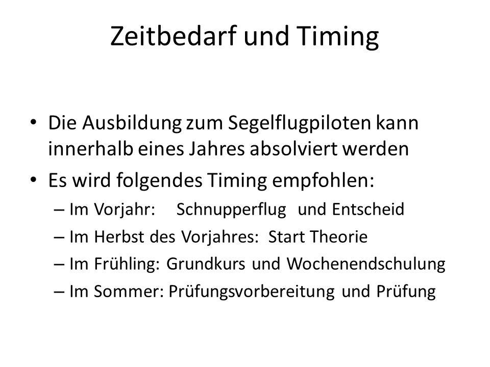 Zeitbedarf und Timing Die Ausbildung zum Segelflugpiloten kann innerhalb eines Jahres absolviert werden.